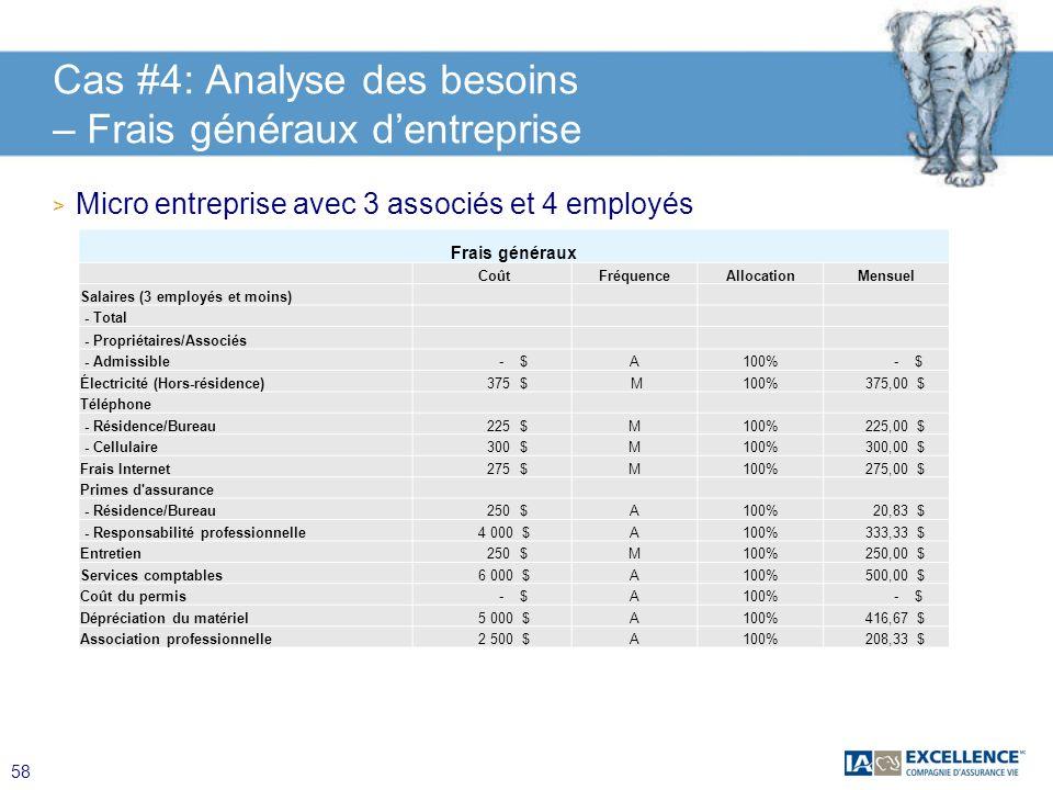 Cas #4: Analyse des besoins – Frais généraux d'entreprise