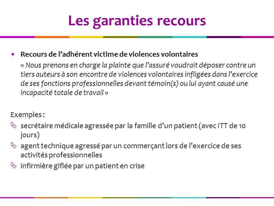 Les garanties recours Recours de l'adhérent victime de violences volontaires.