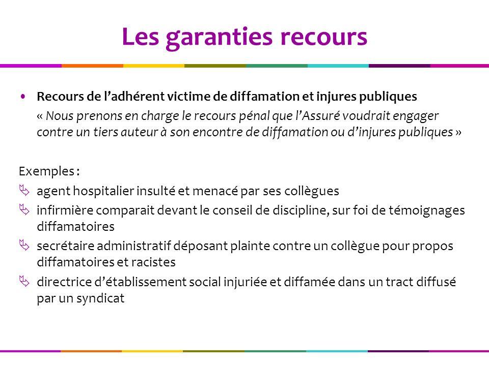 Les garanties recours Recours de l'adhérent victime de diffamation et injures publiques.