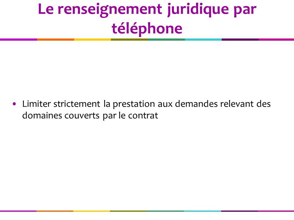 Le renseignement juridique par téléphone