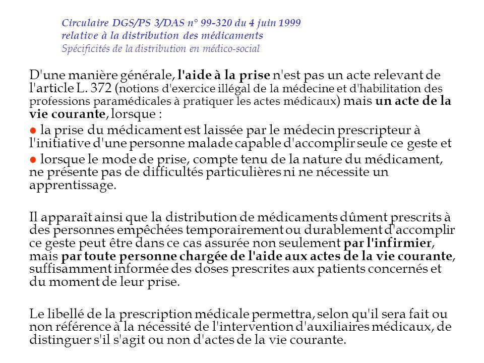 Circulaire DGS/PS 3/DAS n° 99-320 du 4 juin 1999 relative à la distribution des médicaments Spécificités de la distribution en médico-social
