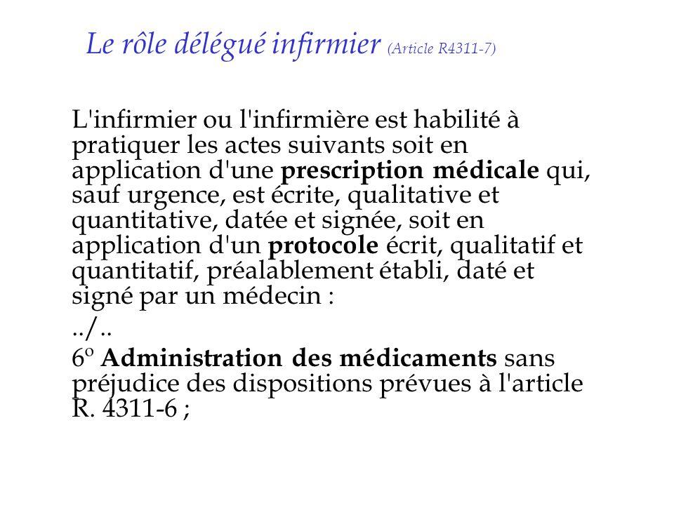 Le rôle délégué infirmier (Article R4311-7)