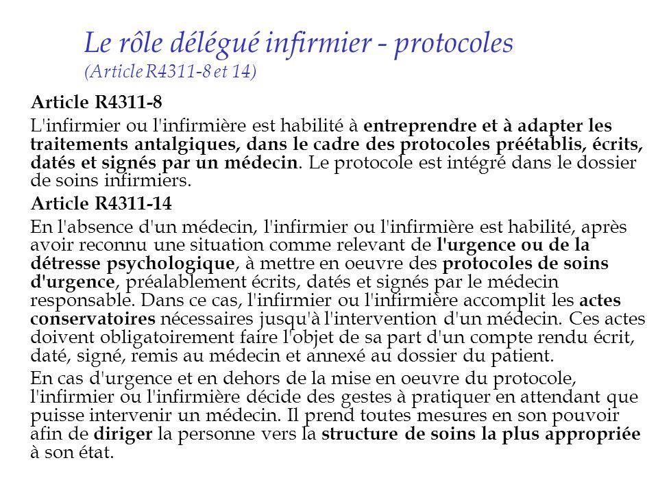 Le rôle délégué infirmier - protocoles (Article R4311-8 et 14)