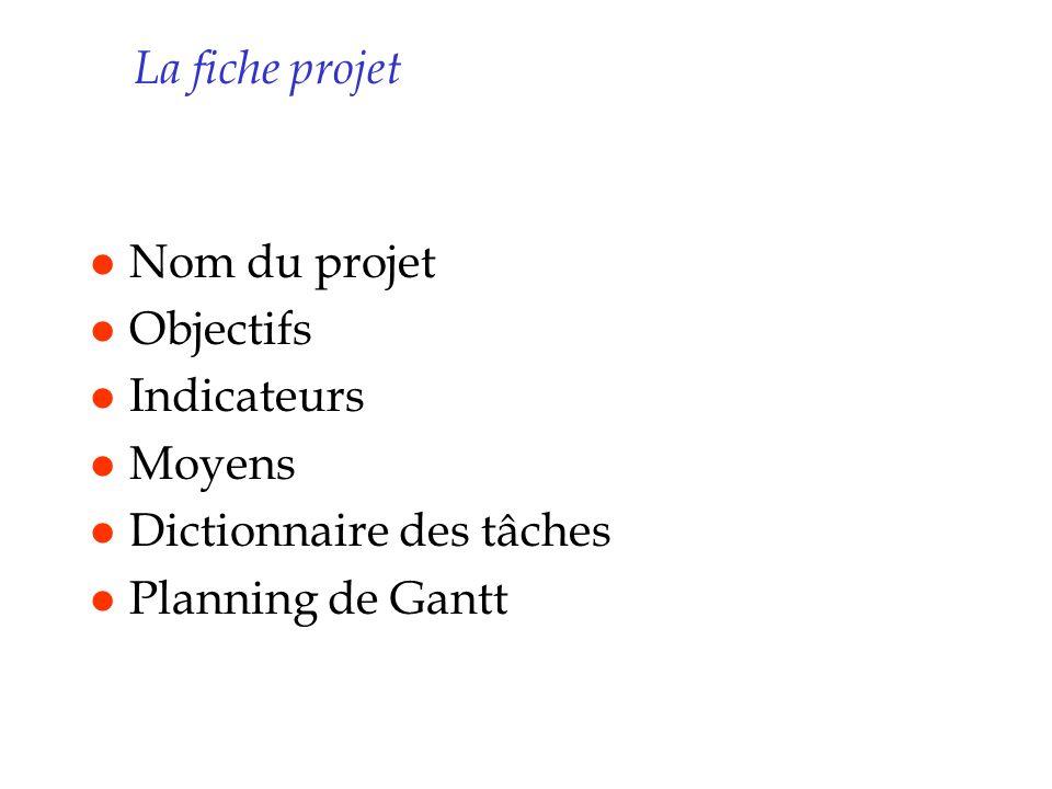 La fiche projet Nom du projet. Objectifs. Indicateurs.