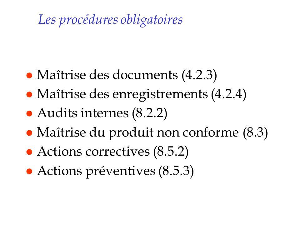 Les procédures obligatoires