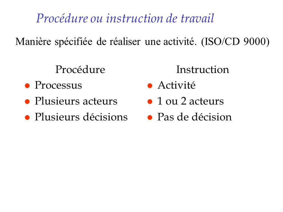 Procédure ou instruction de travail