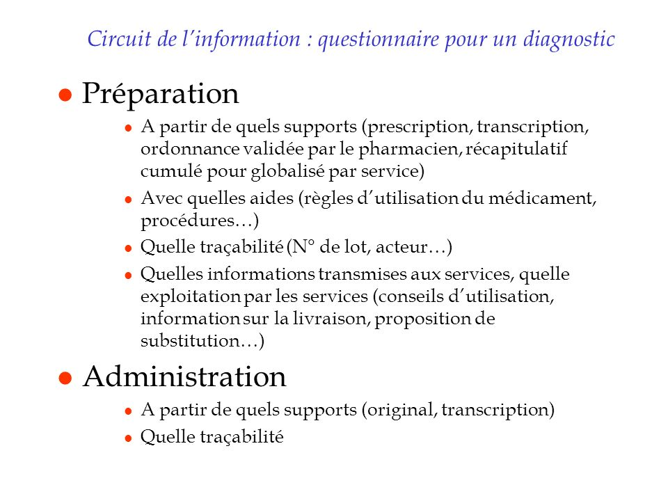 Circuit de l'information : questionnaire pour un diagnostic