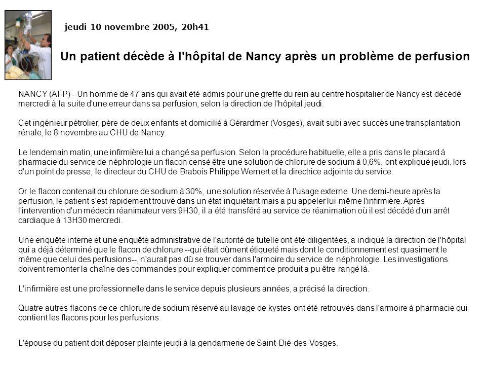 Un patient décède à l hôpital de Nancy après un problème de perfusion