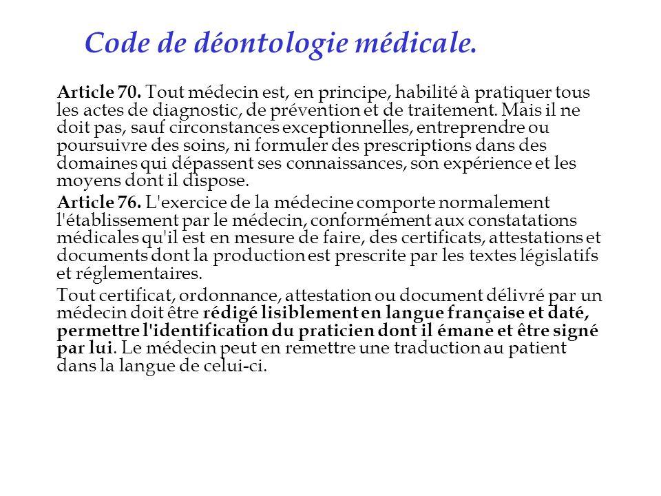 Code de déontologie médicale.
