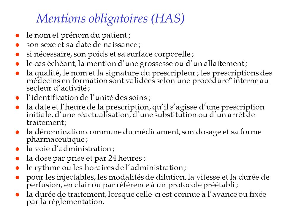 Mentions obligatoires (HAS)