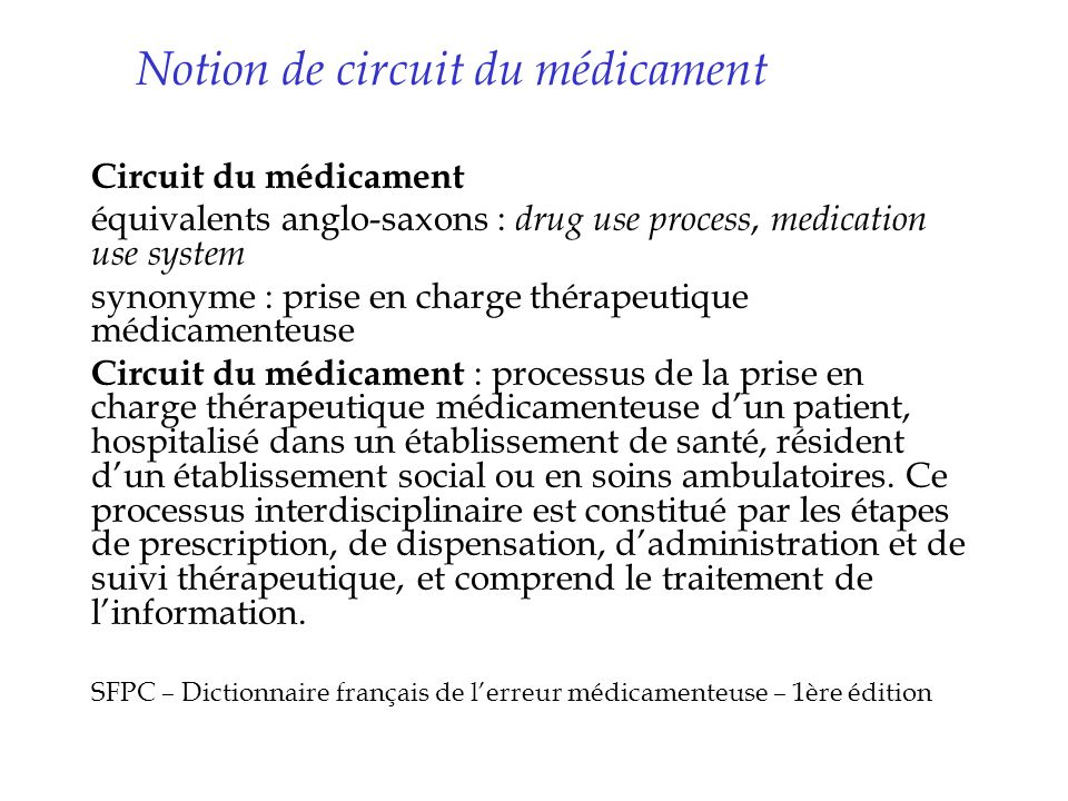 Notion de circuit du médicament