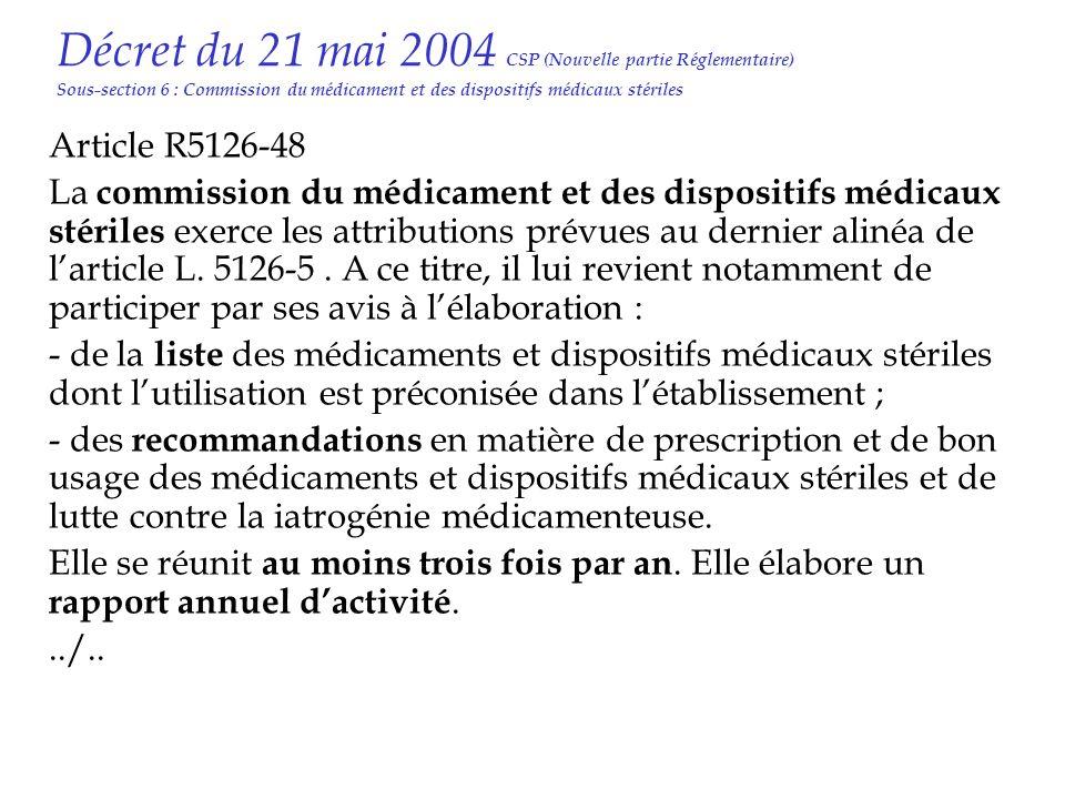 Décret du 21 mai 2004 CSP (Nouvelle partie Réglementaire) Sous-section 6 : Commission du médicament et des dispositifs médicaux stériles