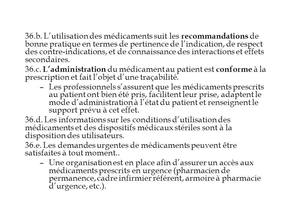 36.b. L'utilisation des médicaments suit les recommandations de bonne pratique en termes de pertinence de l'indication, de respect des contre-indications, et de connaissance des interactions et effets secondaires.