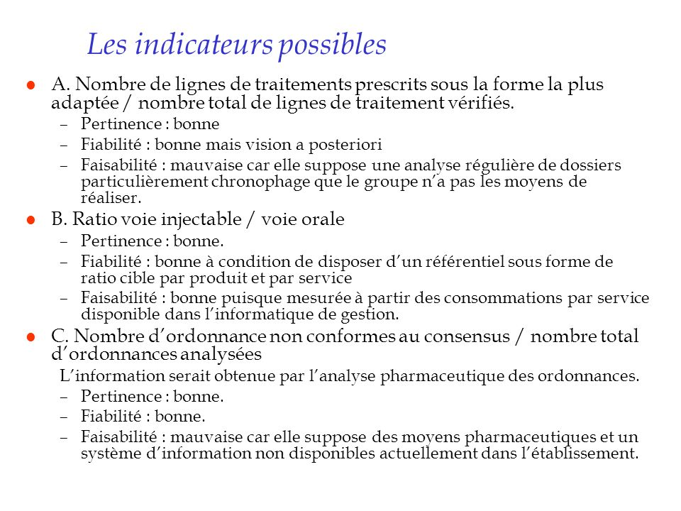 Les indicateurs possibles