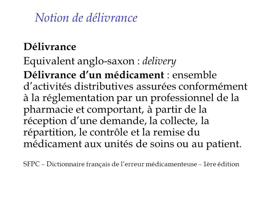 Notion de délivrance Délivrance Equivalent anglo-saxon : delivery