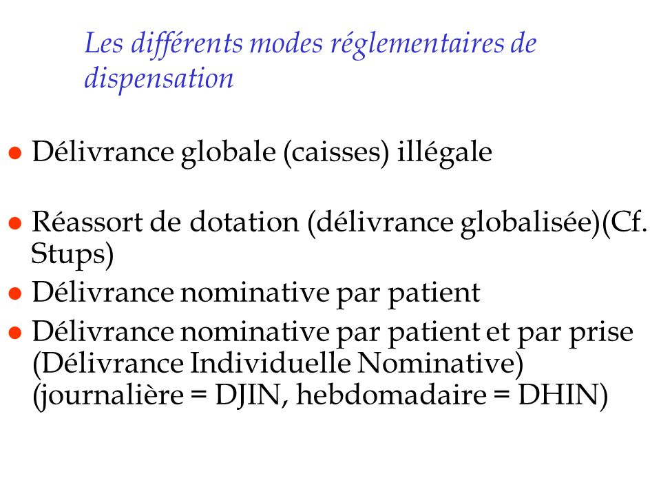 Les différents modes réglementaires de dispensation