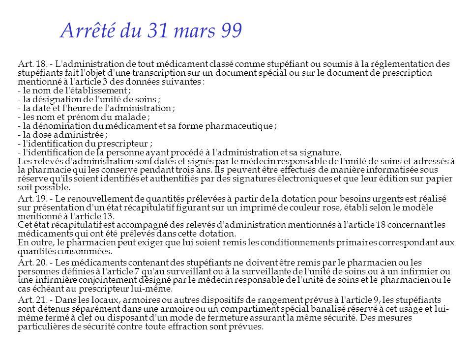 Arrêté du 31 mars 99
