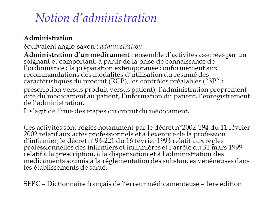Notion d'administration