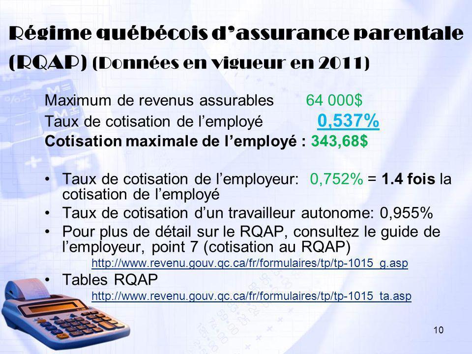 Régime québécois d'assurance parentale (RQAP) (Données en vigueur en 2011)