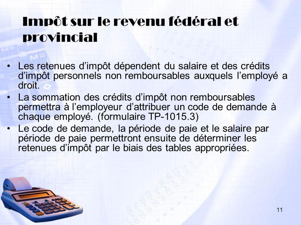 Impôt sur le revenu fédéral et provincial