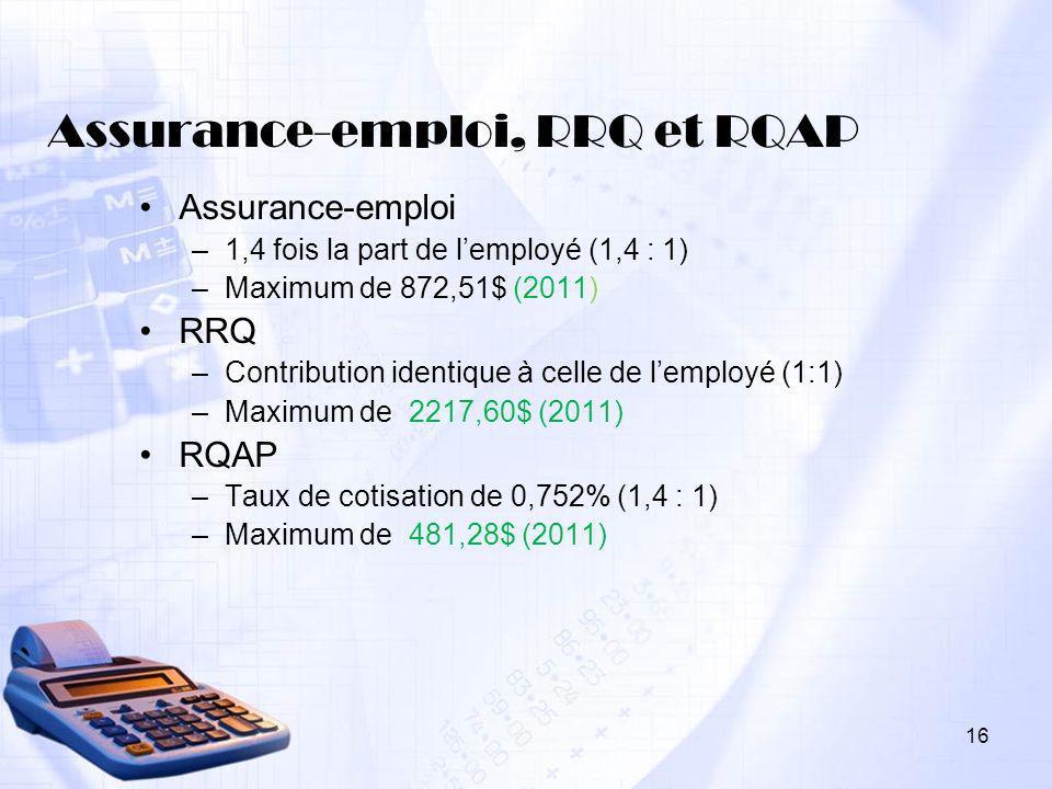 Assurance-emploi, RRQ et RQAP