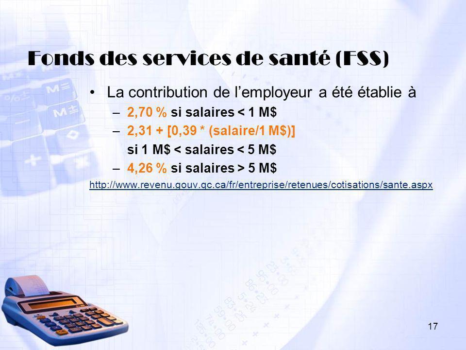 Fonds des services de santé (FSS)
