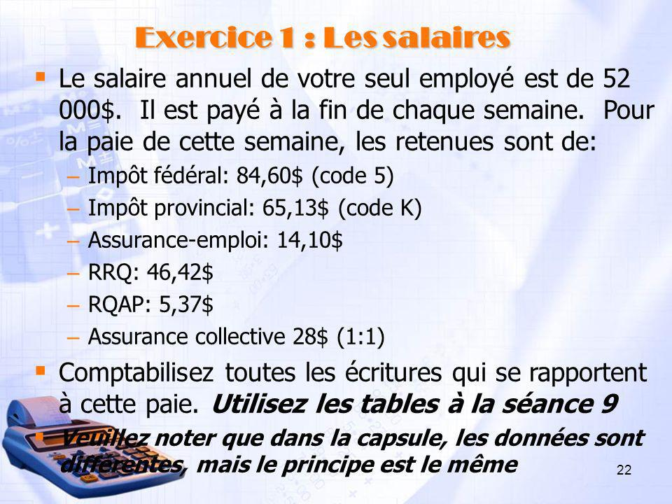 Exercice 1 : Les salaires