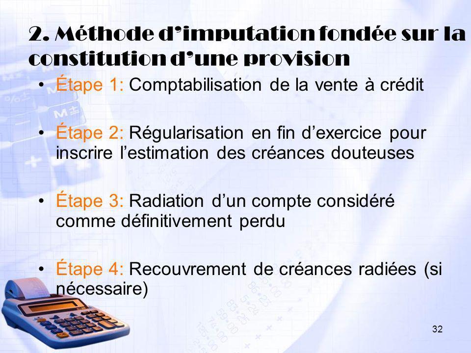 2. Méthode d'imputation fondée sur la constitution d'une provision