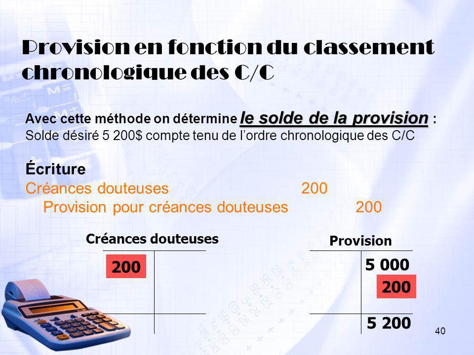 Provision en fonction du classement chronologique des C/C