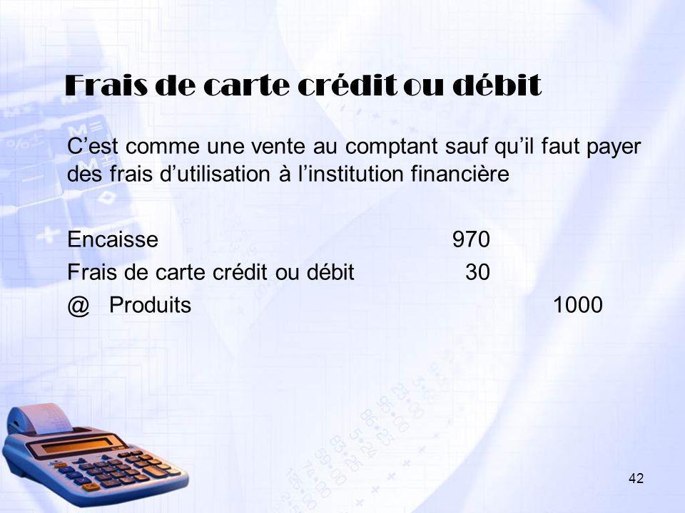 Frais de carte crédit ou débit