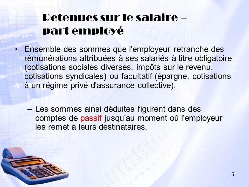 Retenues sur le salaire = part employé