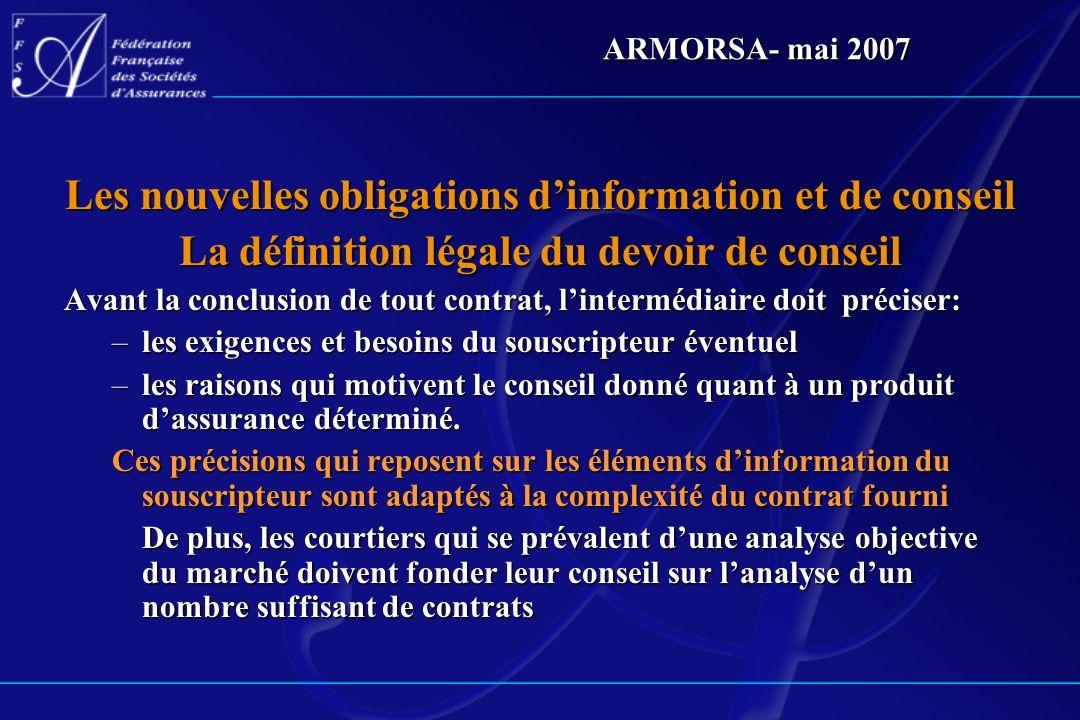 Les nouvelles obligations d'information et de conseil