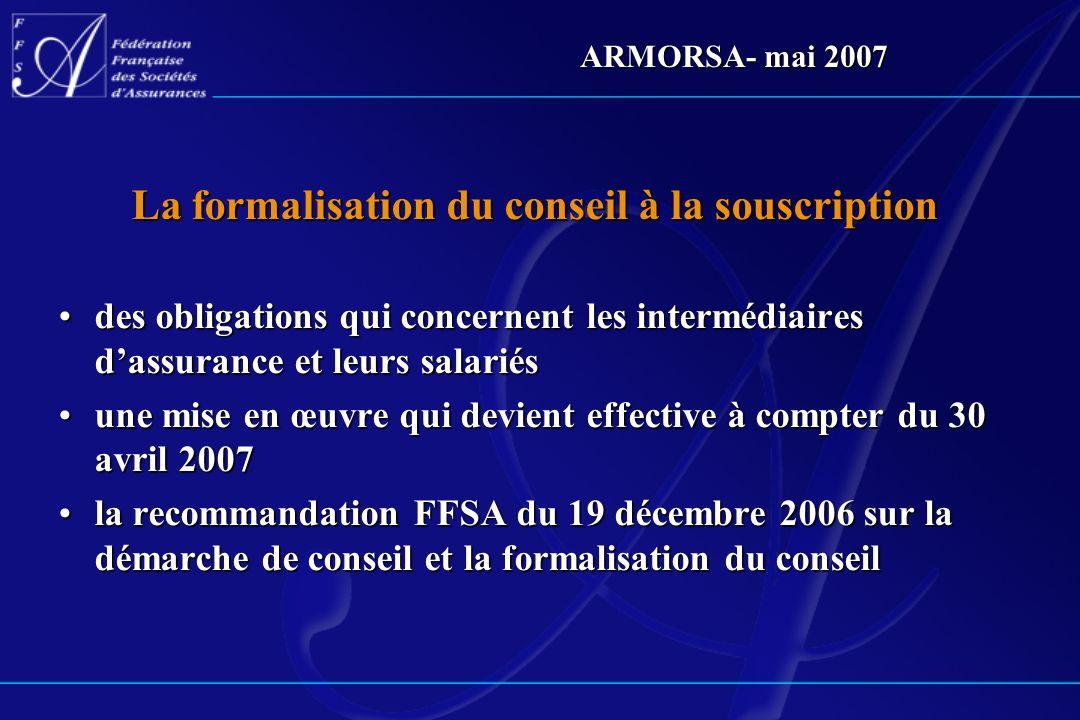 La formalisation du conseil à la souscription