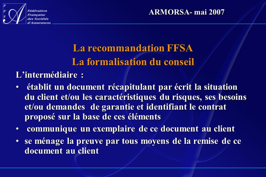 La recommandation FFSA La formalisation du conseil