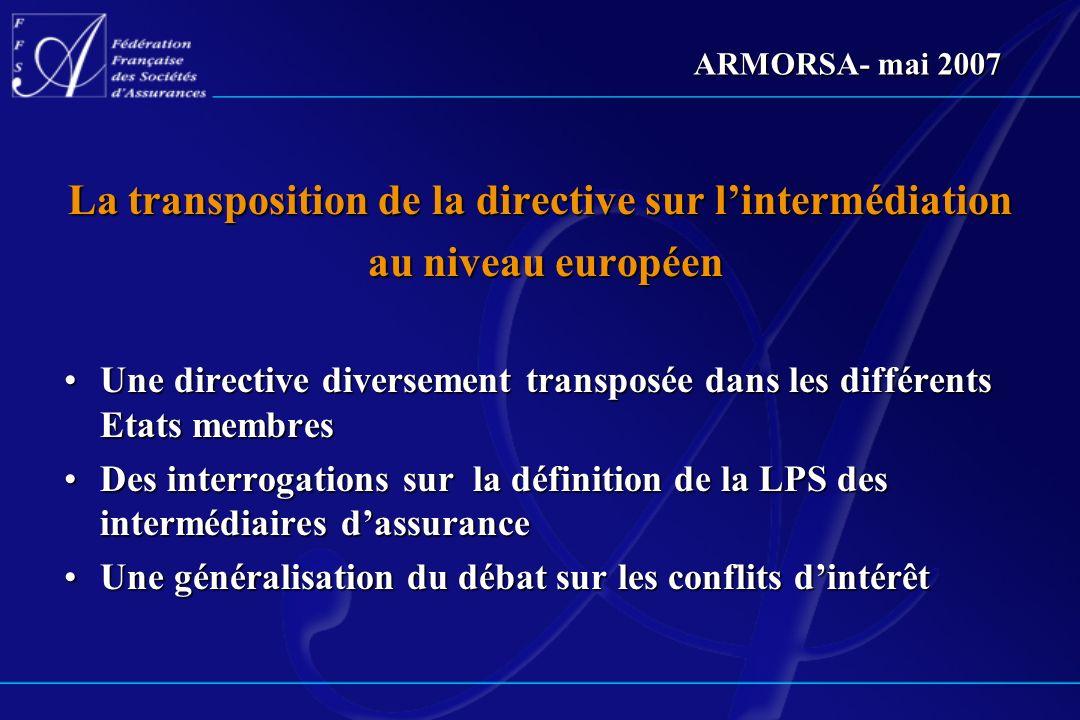 La transposition de la directive sur l'intermédiation