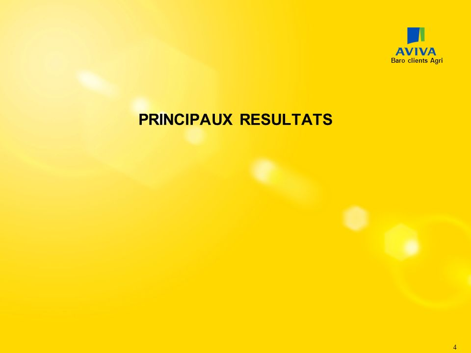 Baro clients Agri PRINCIPAUX RESULTATS