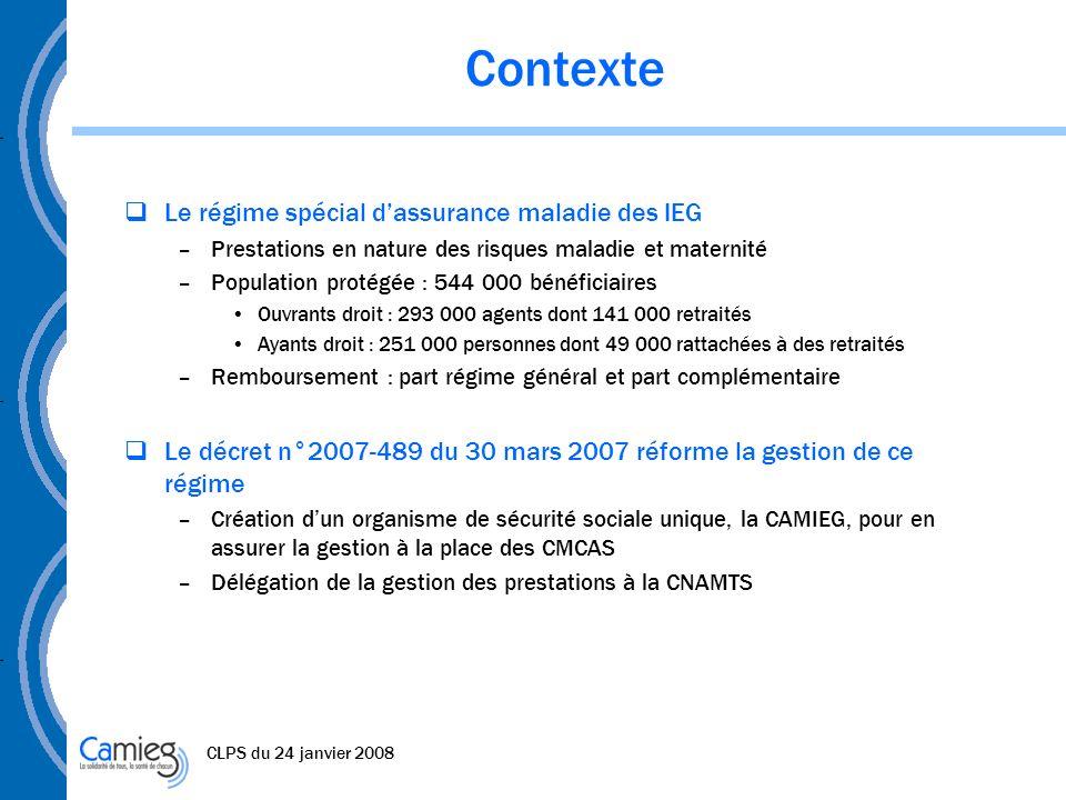 Contexte Le régime spécial d'assurance maladie des IEG
