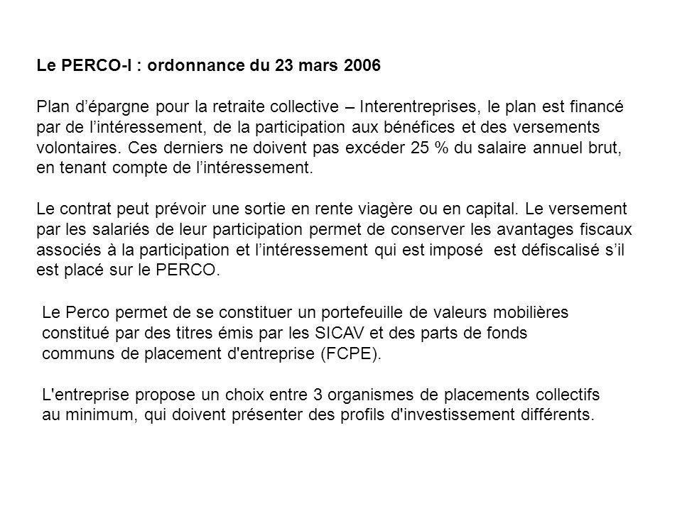 Le PERCO-I : ordonnance du 23 mars 2006