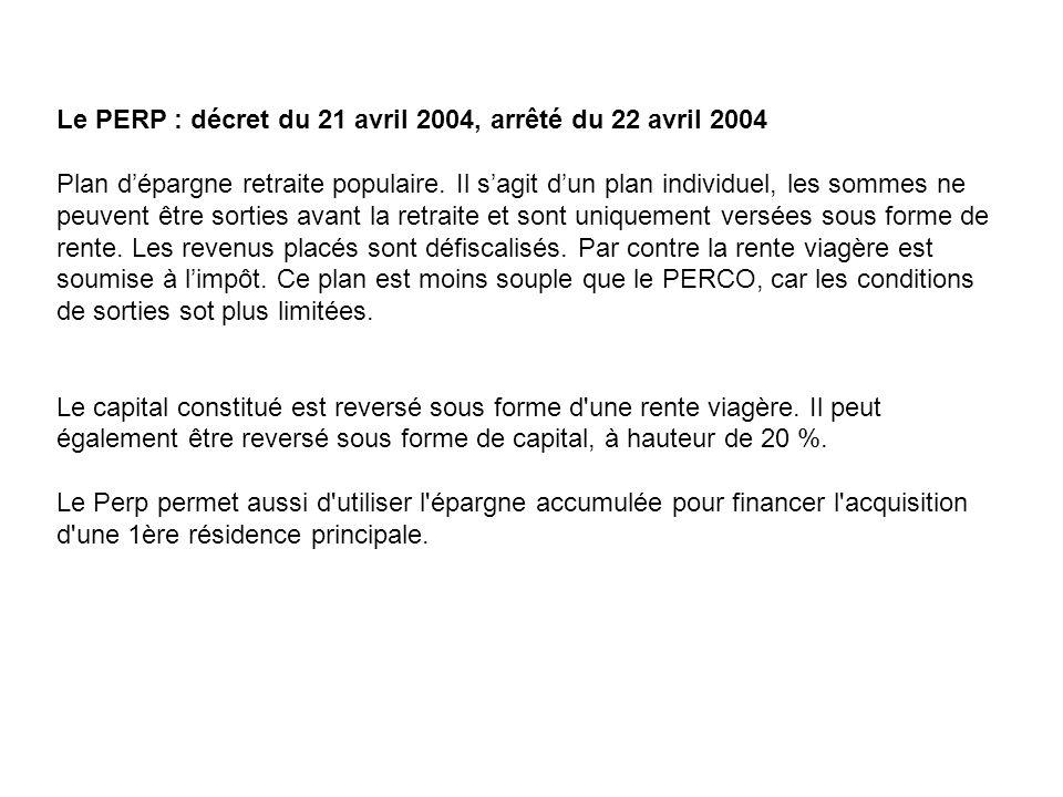 Le PERP : décret du 21 avril 2004, arrêté du 22 avril 2004