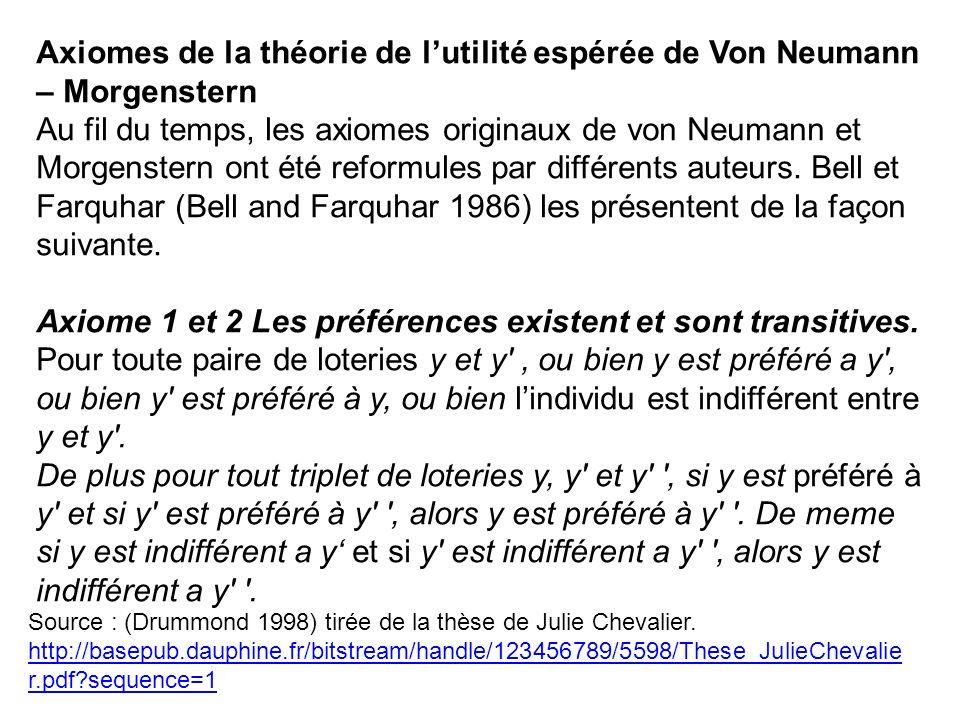 Axiome 1 et 2 Les préférences existent et sont transitives.