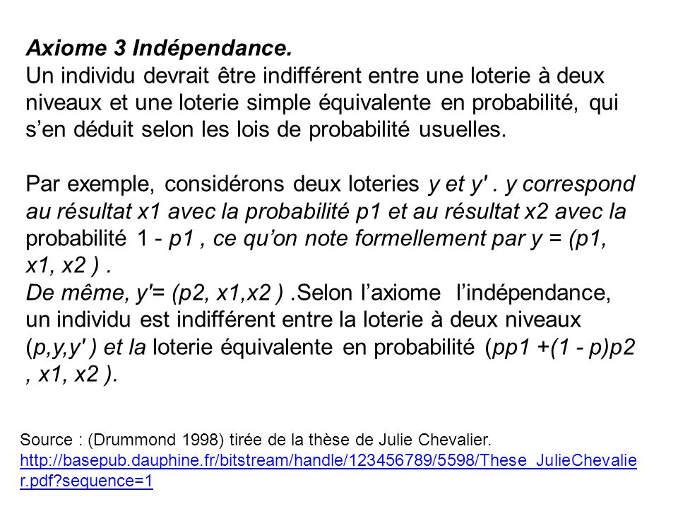 Axiome 3 Indépendance.