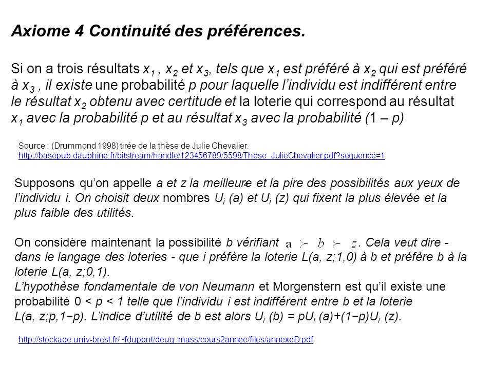 Axiome 4 Continuité des préférences.