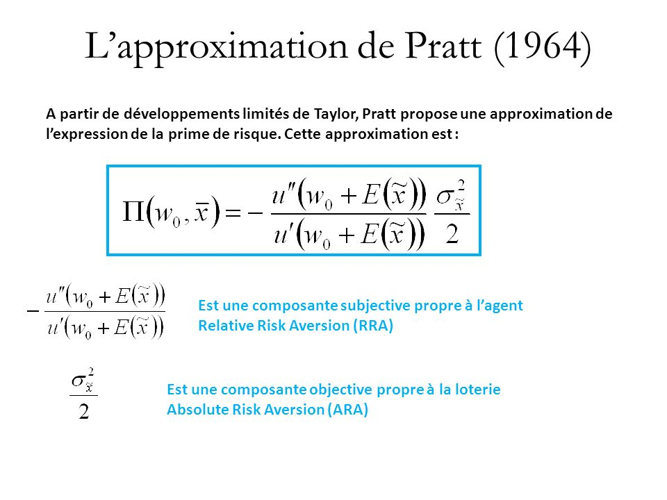 L'approximation de Pratt (1964)