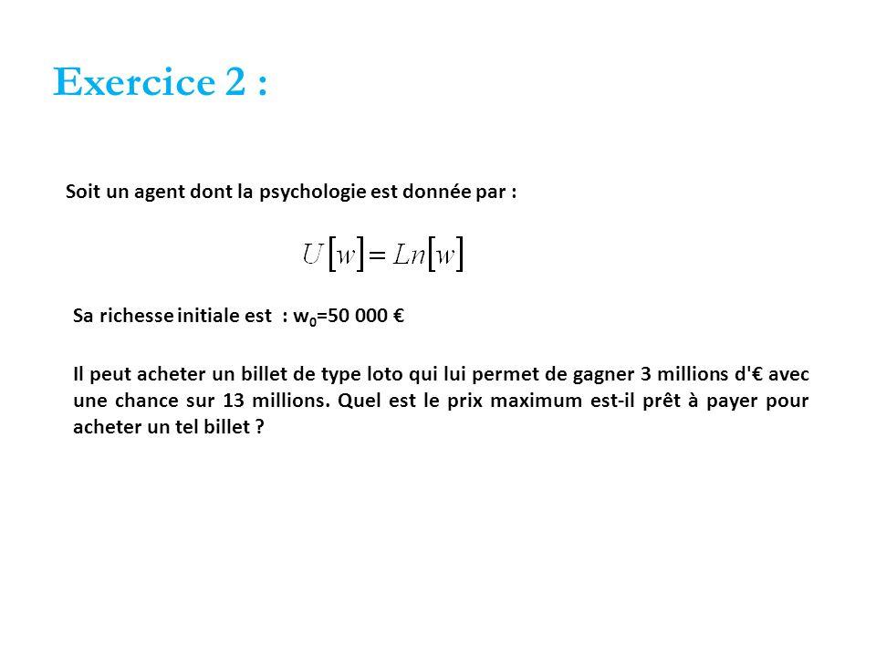 Exercice 2 : Soit un agent dont la psychologie est donnée par :