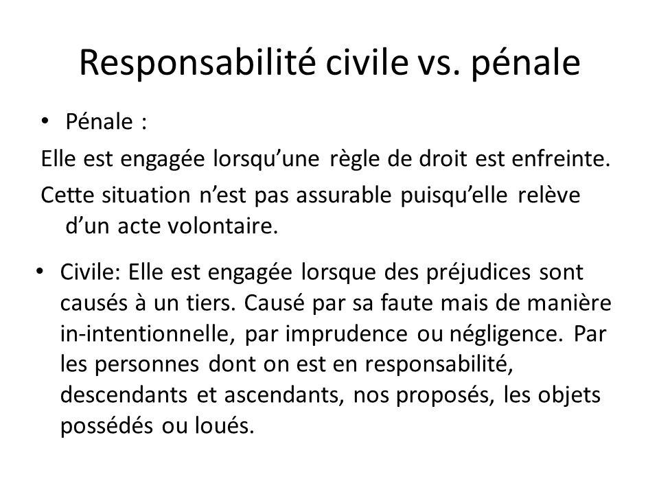 Responsabilité civile vs. pénale
