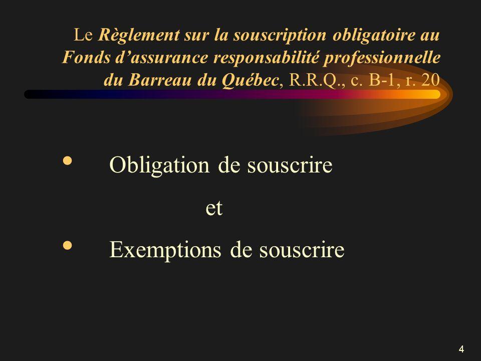 Le Règlement sur la souscription obligatoire au Fonds d'assurance responsabilité professionnelle du Barreau du Québec, R.R.Q., c. B-1, r. 20