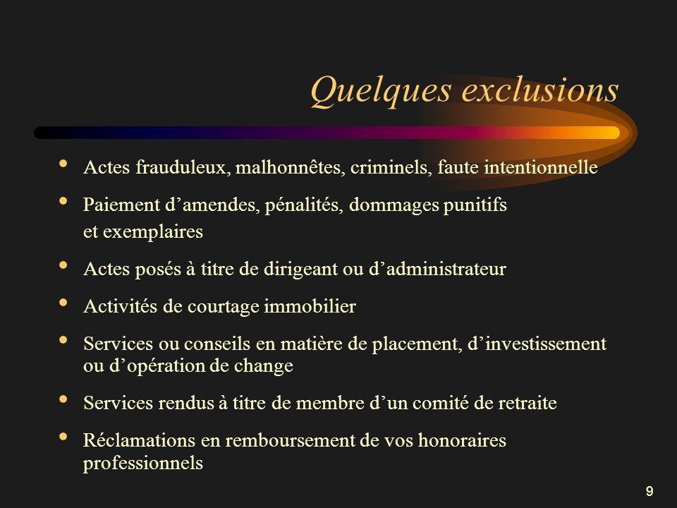 Quelques exclusions Actes frauduleux, malhonnêtes, criminels, faute intentionnelle. Paiement d'amendes, pénalités, dommages punitifs.