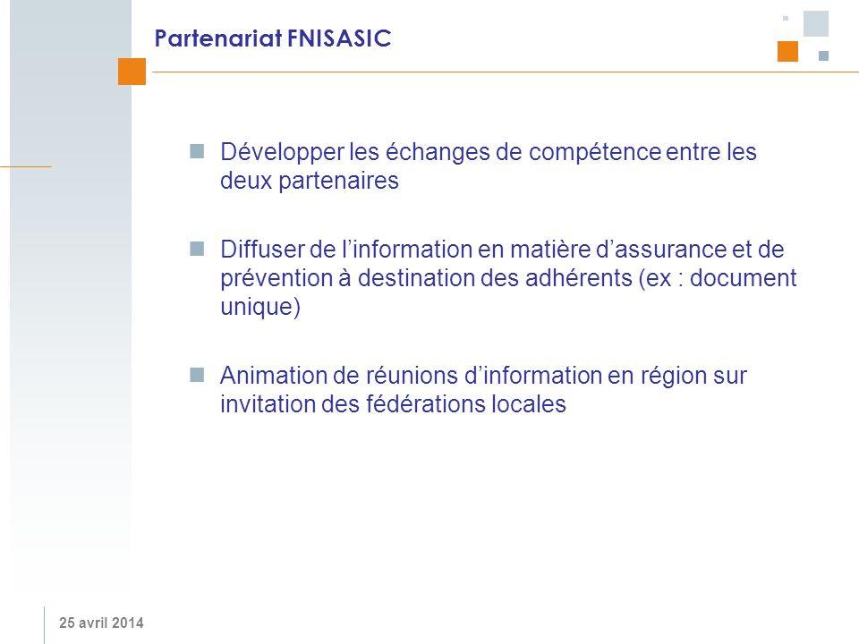 Partenariat FNISASIC Développer les échanges de compétence entre les deux partenaires.