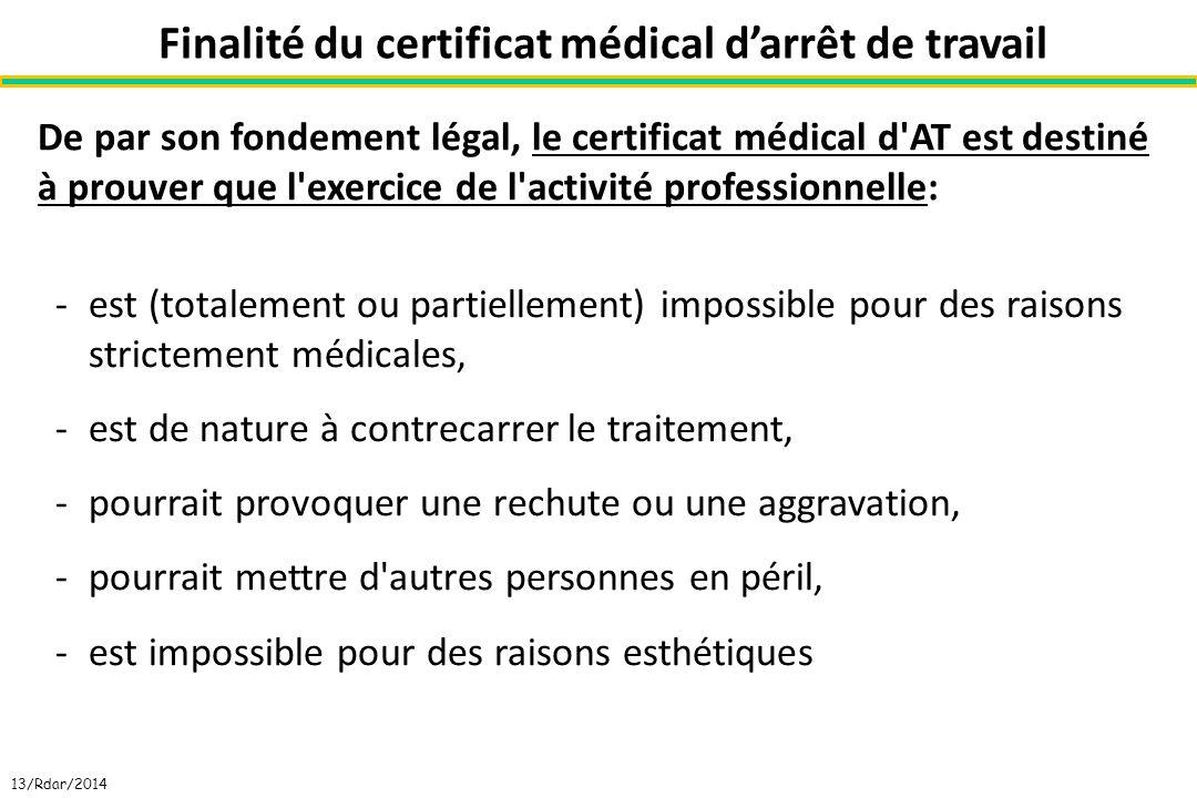 Finalité du certificat médical d'arrêt de travail