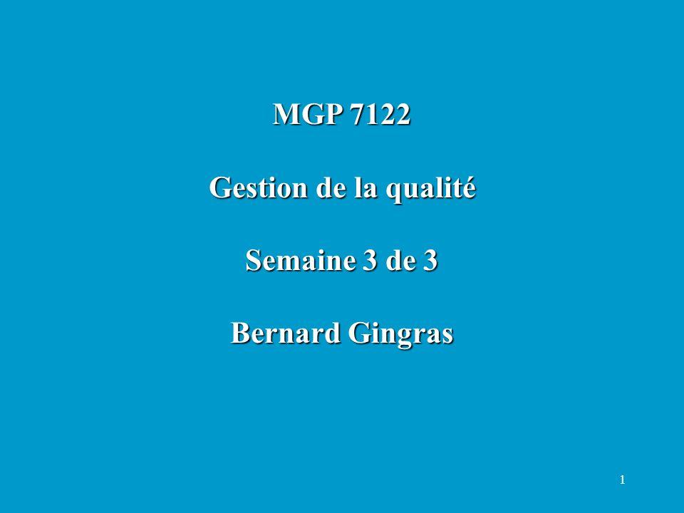 MGP 7122 Gestion de la qualité Semaine 3 de 3 Bernard Gingras